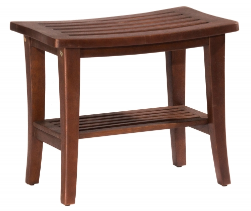 Preston Rectangle Vanity Stool - Walnut