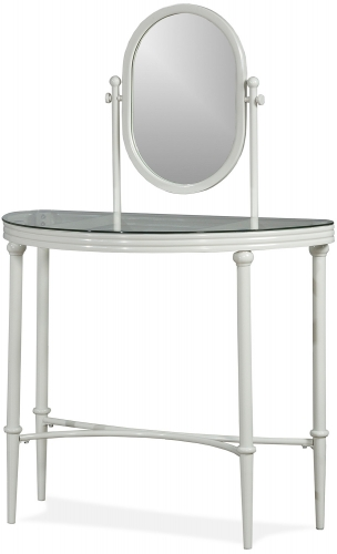Cape May Vanity with Glass Top and Mirror - Matte White