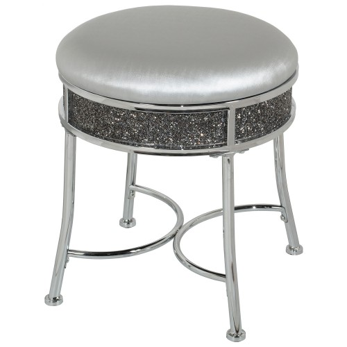 Roma Glam Backless Faux Diamond Cluster Vanity Stool - Chrome