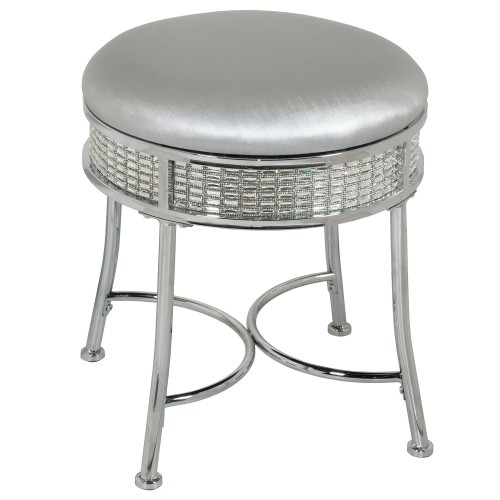 Venice Glam Backless Faux Diamond Band Vanity Stool - Chrome