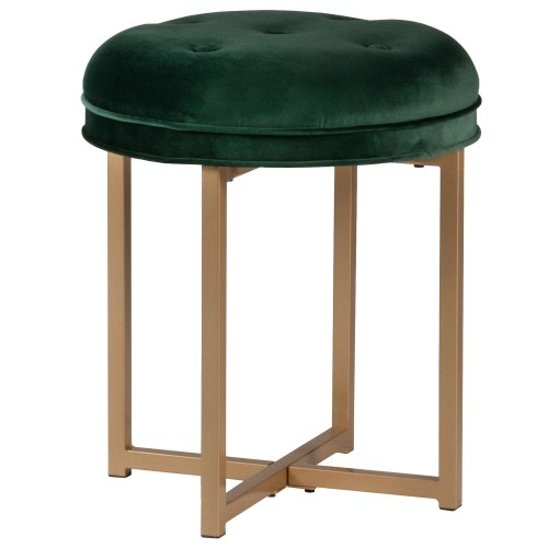 Maura Tufted Backless Metal Vanity Stool - Emerald Green Velvet