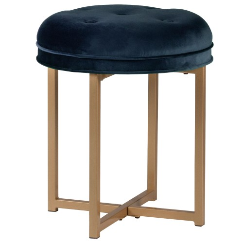 Maura Tufted Backless Metal Vanity Stool - Sapphire Blue Velvet
