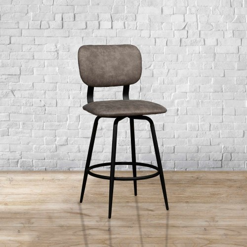 Bloomfield Retro Metal Swivel Counter Height Stool - Matte Black- Set of 2