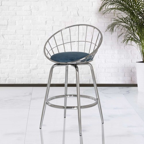 Bullock Rounded Disc Metal Swivel Counter Height Stool - Teal Blue Velvet