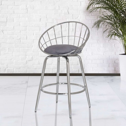 Bullock Rounded Disc Metal Swivel Counter Height Stool - Silver Gray Velvet
