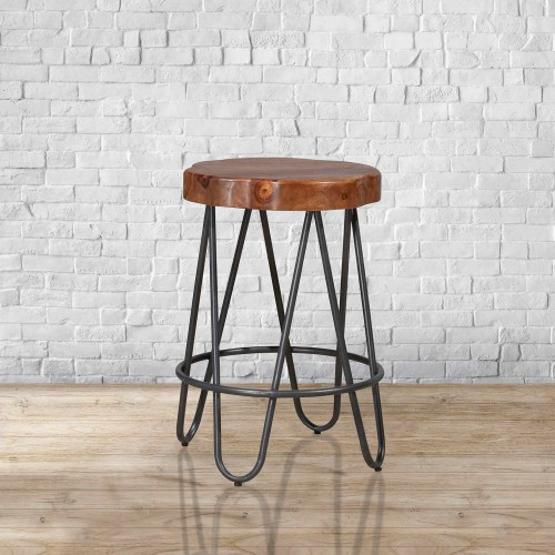 Pembra Backless Counter Height Stool - Natural Sheesham