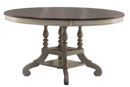 Hillsdale Pine Island Round Dining Table - Old White
