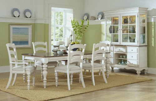 Pine Island 7 PC Dining Set with Ladder Back Chairs - Old White
