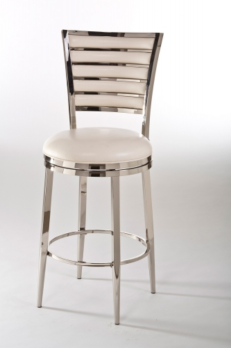 Rouen Swivel Counter Stool - Shiny Nickel/Ivory PU