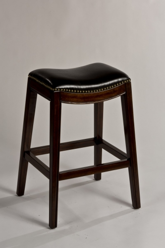 Sorella Non-Swivel Backless Bar Stool - Espresso - Black PU