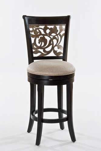 Bennington Swivel Counter Stool - Black Distressed Gray - Putty Fabric