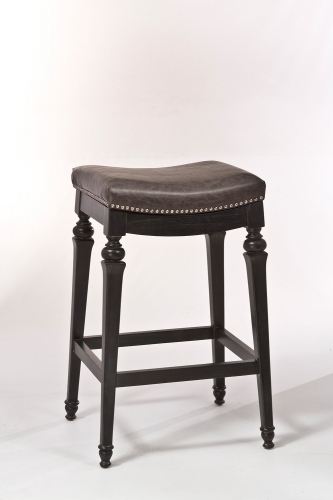 Vetrina Backless Non-Swivel Counter Stool - Black/Gold Rub - Charcoal Faux Leather