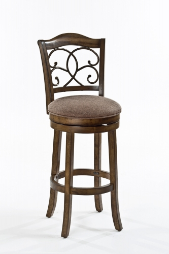 McLane Swivel Bar Stool - Rich Walnut - Mocha Fabric