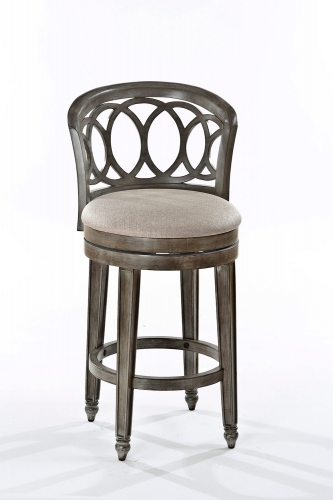 Adelyn Swivel Counter Stool - Gold Metallic Silver - Putty Fabric