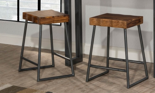 Emerson Non-Swivel Backless Counter Stool - Natural Sheesham Wood/Gray Metallic