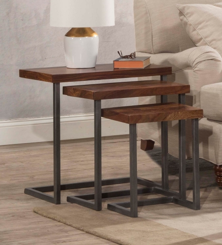 Emerson 3-Set Nesting Tables - Sheesham/Grey