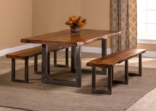Emerson 3-Piece Rectangle Dining Set - Natural Sheesham/Gray Coat