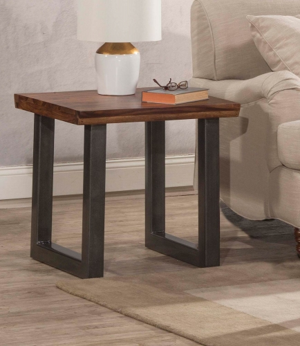 Emerson End Table - Sheesham/Grey