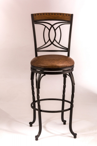 Donovan Swivel Bar Stool - Antique Brown - Brown Faux Leather