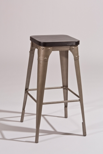 Morris Backless Bar Stool - Dark Gray/Black Wood