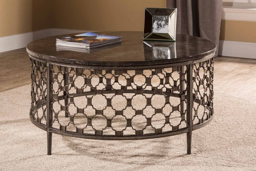 Brescello Round Coffee Table - Charcoal/Blue Stone