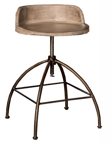 Bridgewater Adjustable Stool - Tan Wood/Zinc Metal
