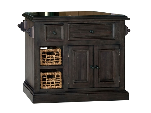 Tuscan Retreat Small Granite Top Kitchen Island with 2 Baskets - Weathered Gray