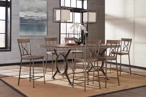 Paddock Counter Height Dining Set - Brushed Steel Metal/Distressed Brown