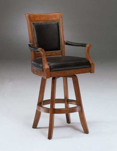 Kingston Swivel Game Leather Back Bar Stool