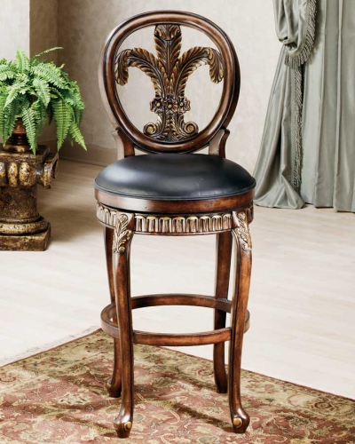 Fleur De Lis Triple Leaf Wood Bar Stool