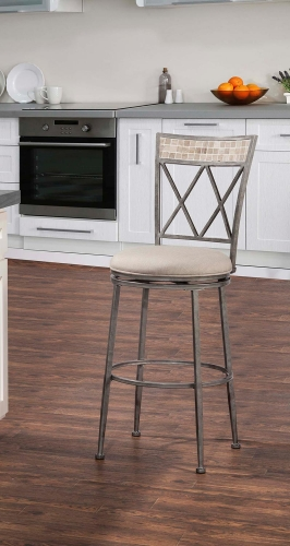 Milestone Indoor/Outdoor Swivel Counter Stool - Aged Pewter