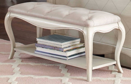 Angela Bed Bench With Tufted Top - Opal Grey