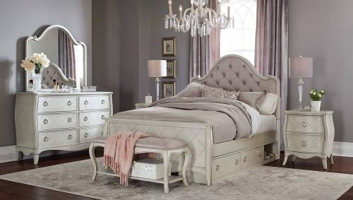 Angela Arc Upholstered Bedroom Set With Storage Unit - Opal Grey