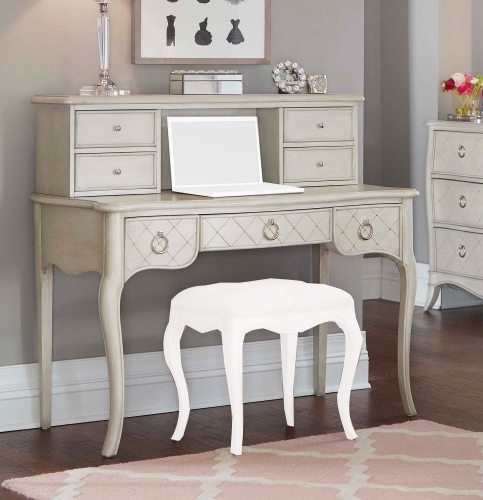 Angela Desk With Hutch - Opal Grey