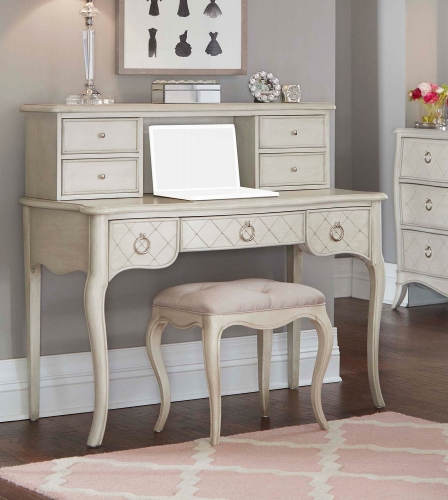 Angela Desk With Hutch And Stool - Opal Grey