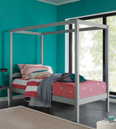Sutton Wood Canopy Twin Bed - Gray