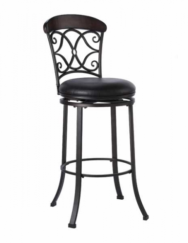 Trevelian Swivel Counter Stool With Brown Vinyl