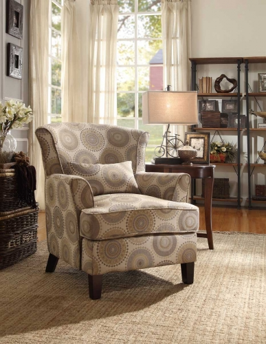 Nicolo Accent Chair with 1 Kidney Pillow