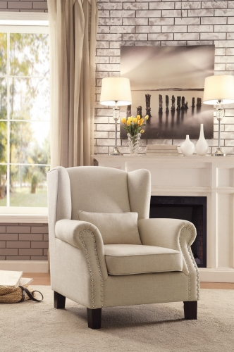 Adelaide Accent Chair with 1 Kidney Pillow - Linen-like fabric - Light Neutral