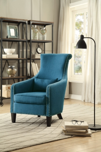 Arles Accent Chair with 1 Kidney Pillow - Blue