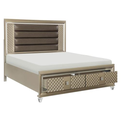 Loudon Storage Platform Bed - Champagne Mettalic