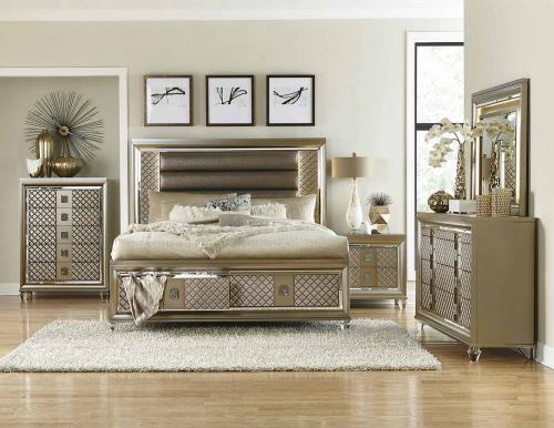 Loudon Storage Platform Bedroom Set - Champagne Mettalic