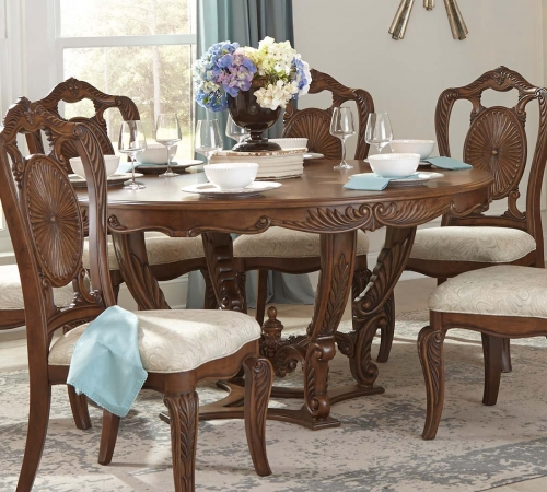 Moorewood Park Round Dining Table with Leaf - Pecan