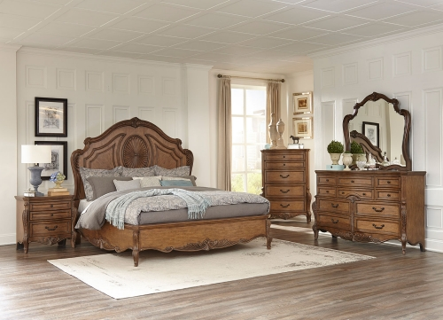 Moorewood Park Low Profile Bedroom Set - Pecan
