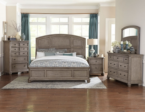 Lavonia Low Profile Bedroom Set - Wire-brushed Gray