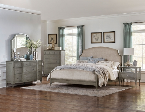 Albright Upholstered Bedroom Set - Barnwood Grey