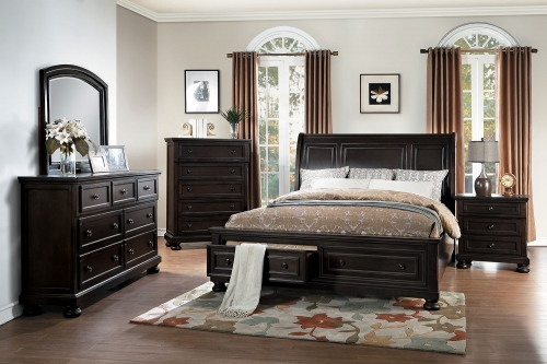 Begonia Sleigh Platform Storage Bedroom Set