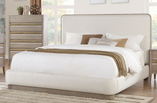 Aristide Upholstered Platform Bed - Gold and Weathered Grey