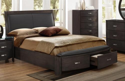 Lyric Upholstered Sleigh Platform Storage Bed - Brownish Grey