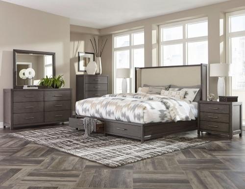 Fondren Platform Storage Bedroom Set - Dark Gray/Brown